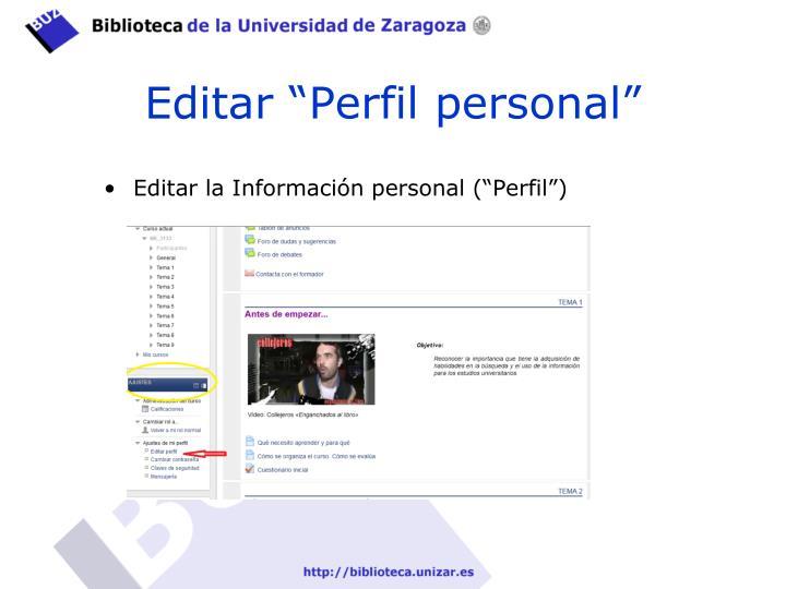"Editar ""Perfil personal"""