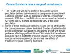 cancer survivors have a range of unmet needs1