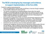 the ncsi is developing key messages and evidence to support implementation of the five shifts
