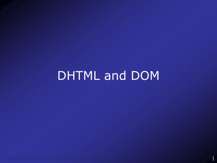 dhtml and dom n.