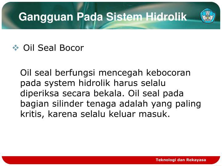 Gangguan Pada Sistem Hidrolik