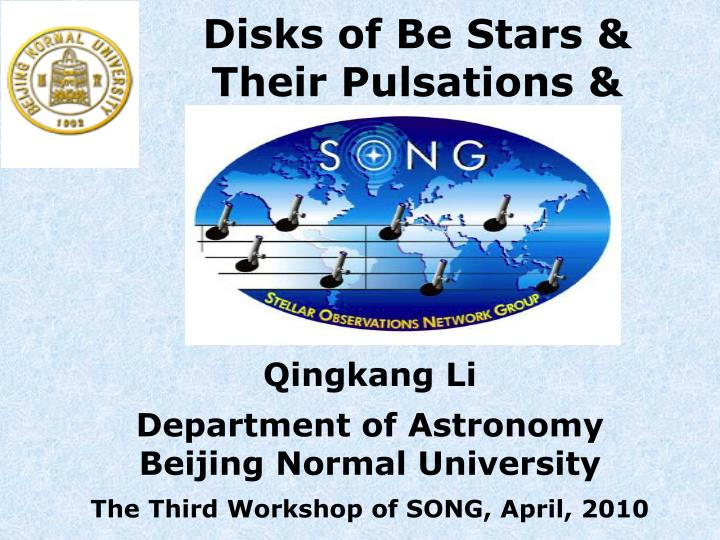 Disks of be stars their pulsations