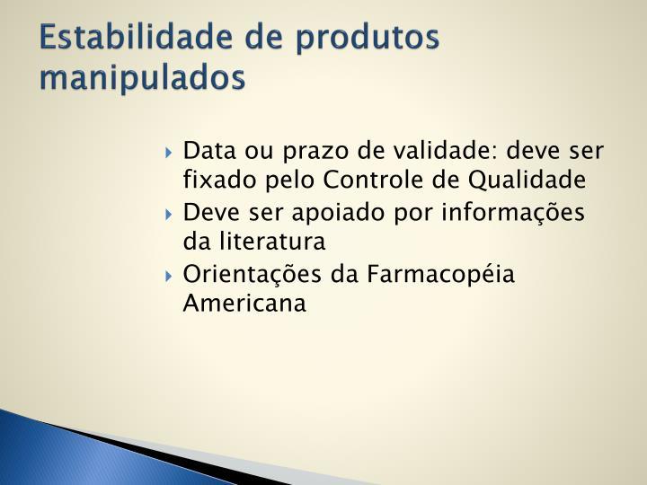 Estabilidade de produtos manipulados