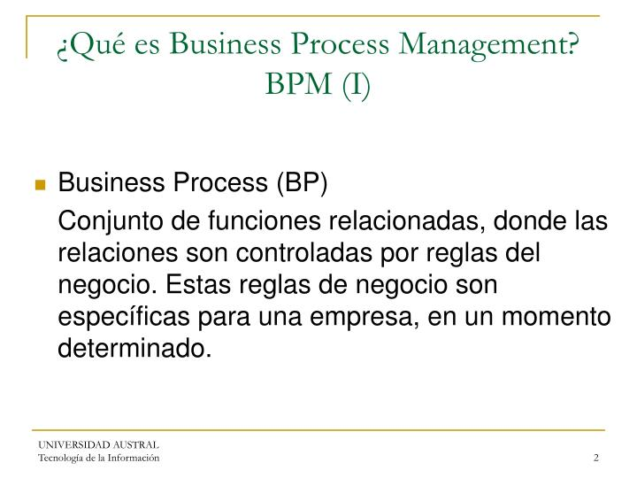Qu es business process management bpm i
