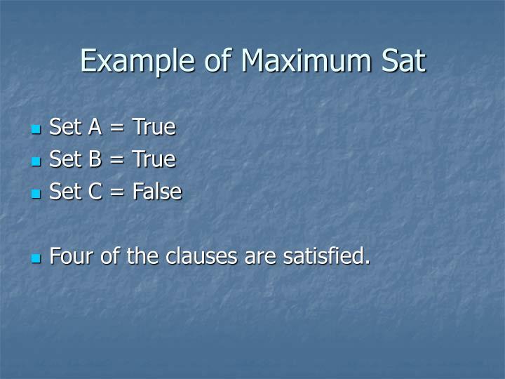 Example of Maximum Sat
