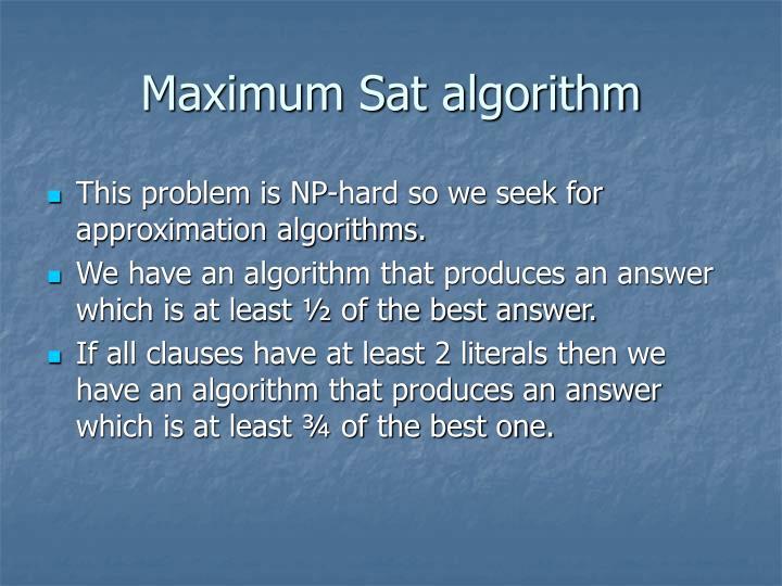 Maximum Sat algorithm