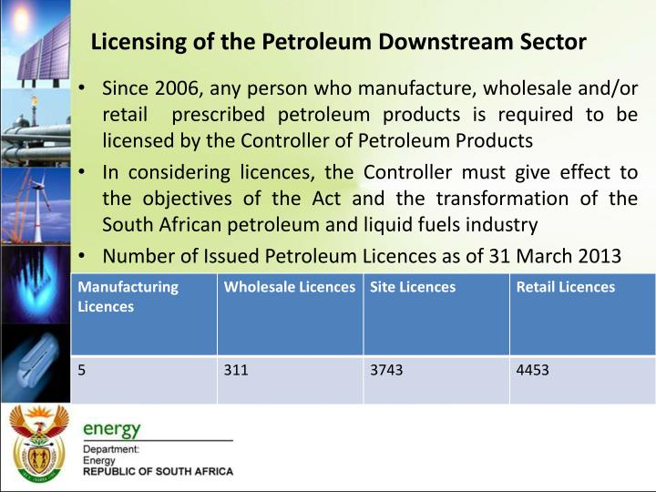 Licensing of the Petroleum Downstream Sector