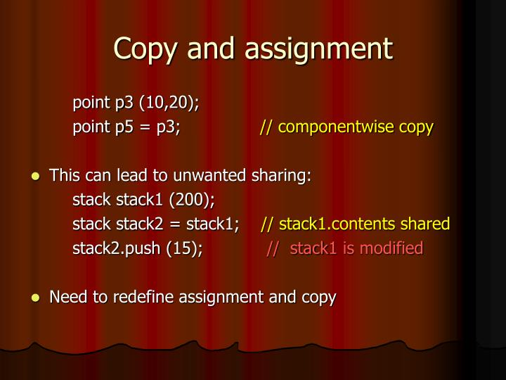 Copy and assignment