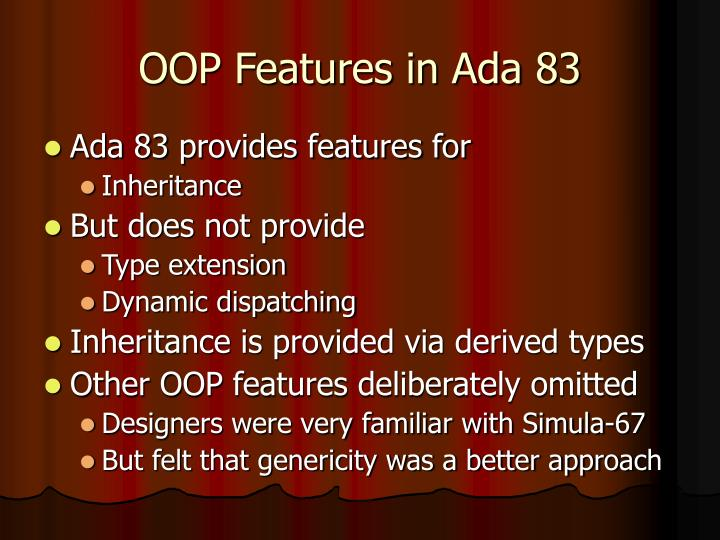 OOP Features in Ada 83