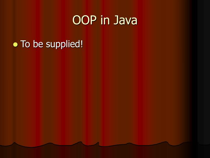 OOP in Java