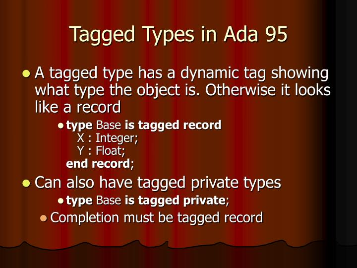 Tagged Types in Ada 95