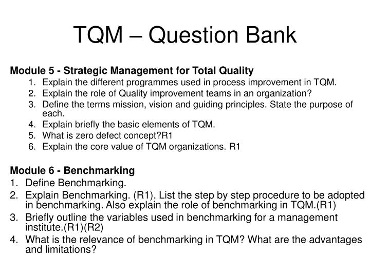 PPT - TQM – Question Bank PowerPoint Presentation - ID:3784009