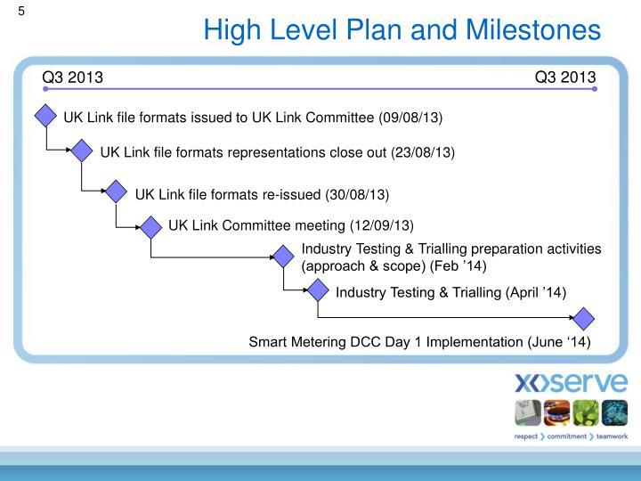 High Level Plan and Milestones