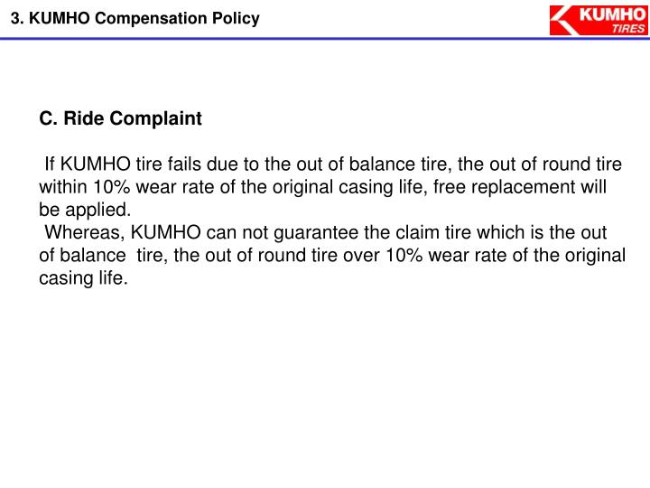 3. KUMHO Compensation Policy