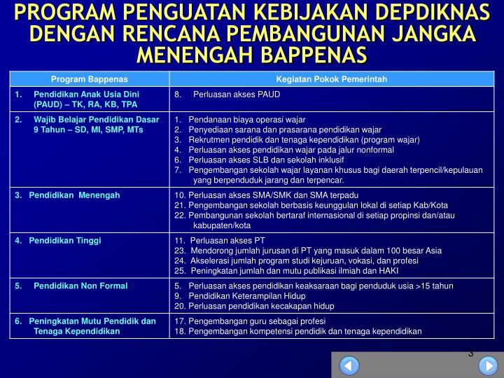Program penguatan kebijakan depdiknas dengan rencana pembangunan jangka menengah bappenas