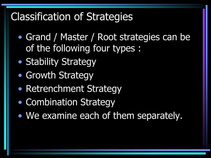 Classification of strategies1
