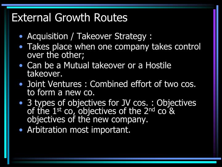 External Growth Routes