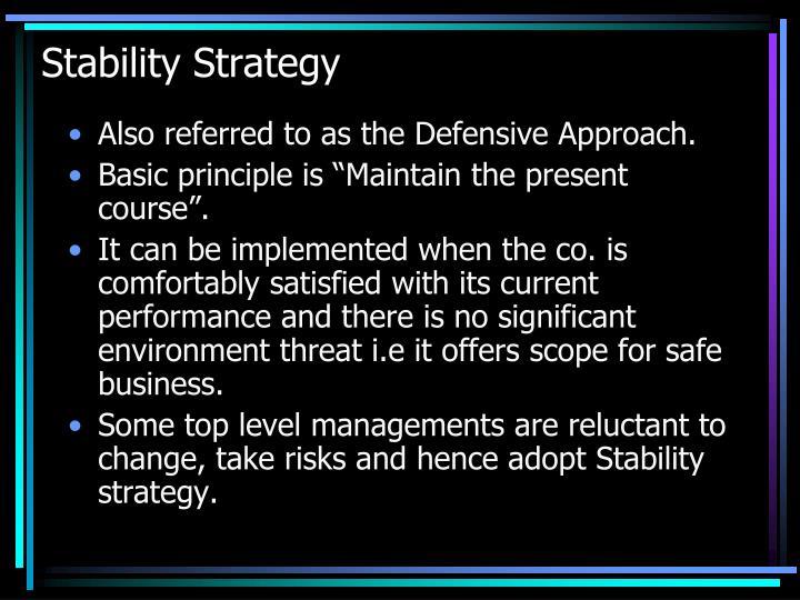 Stability Strategy