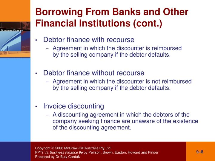 Borrowing From Banks and Other Financial Institutions (cont.)