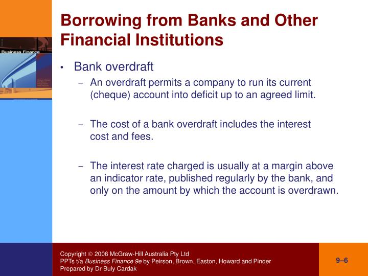Borrowing from Banks and Other Financial Institutions