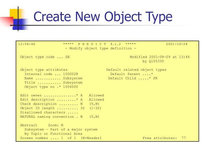 Create New Object Type
