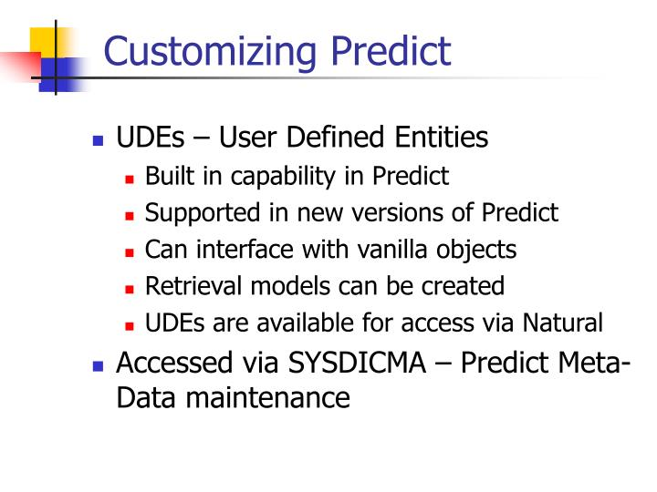 Customizing Predict