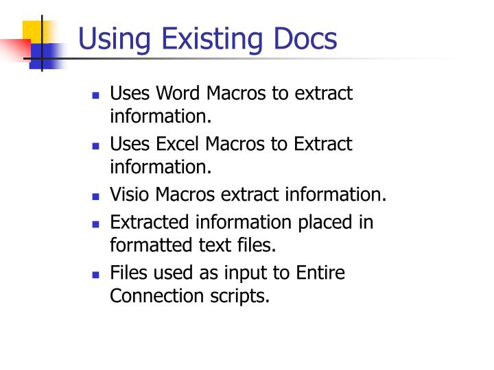 Uses Word Macros to extract information.