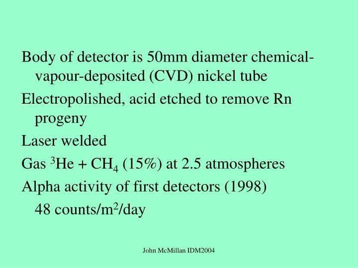 Body of detector is 50mm diameter chemical-vapour-deposited (CVD) nickel tube