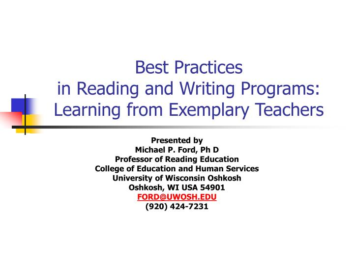 best practices in reading and writing programs learning from exemplary teachers n.
