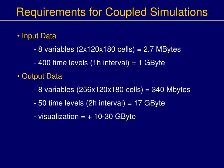 Requirements for Coupled Simulations