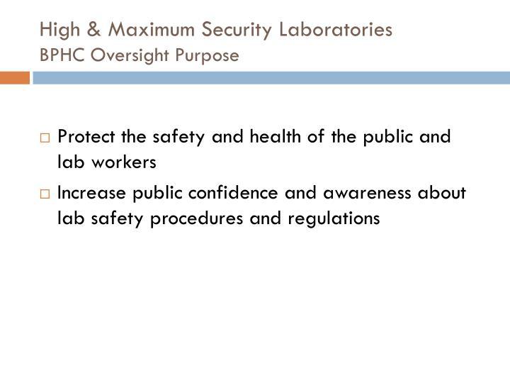 High maximum security laboratories bphc oversight purpose