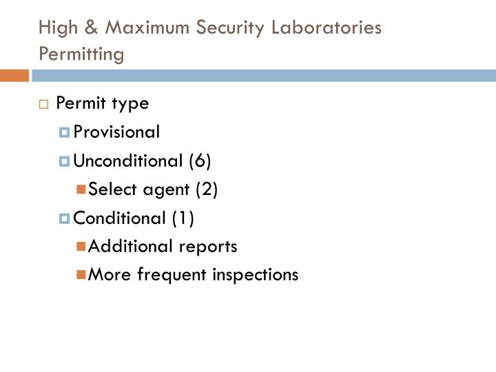 High maximum security laboratories permitting
