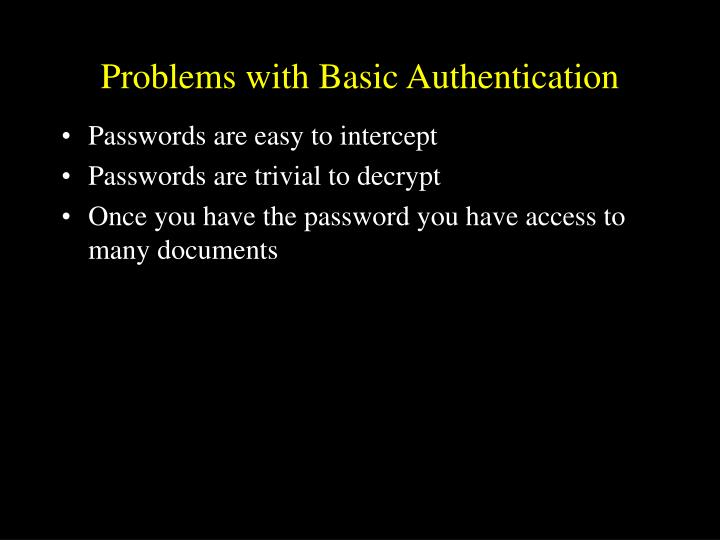 Problems with basic authentication