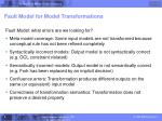 fault model for model transformations