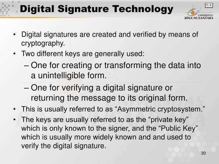 Digital Signature Technology