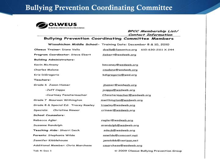Bullying Prevention Coordinating Committee