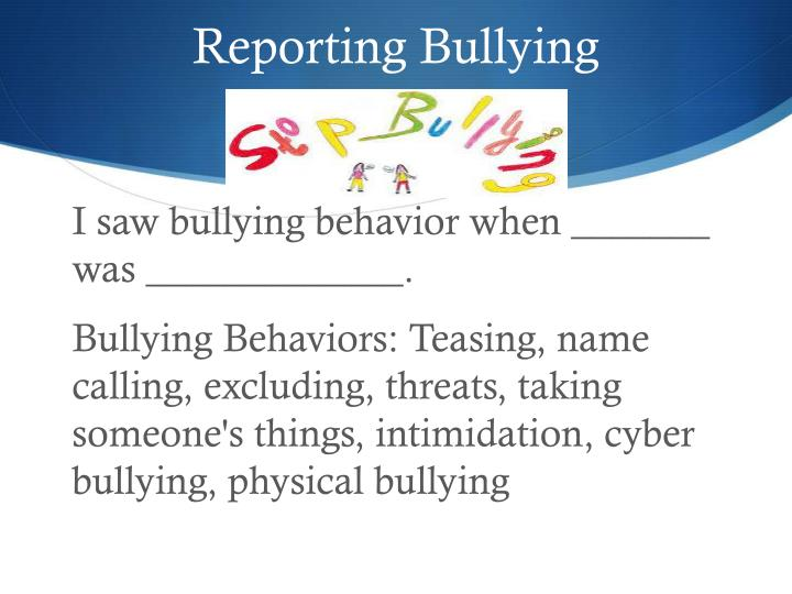 Reporting Bullying