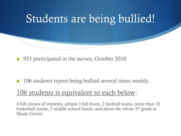 Students are being bullied!