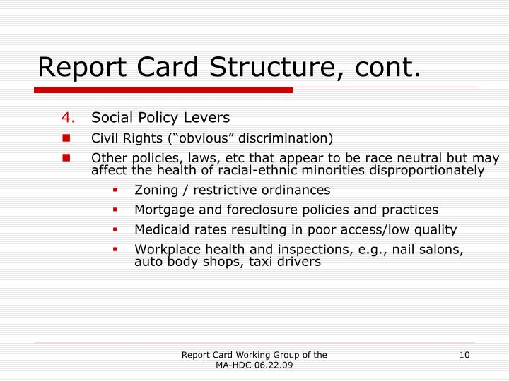 Report Card Structure, cont.