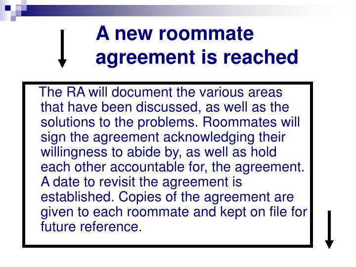 A new roommate agreement is reached