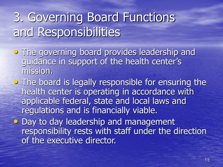 3. Governing Board Functions
