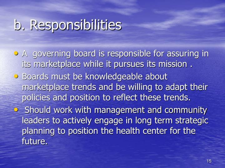 b. Responsibilities