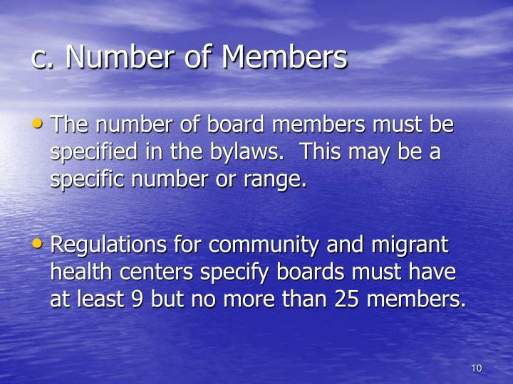 c. Number of Members