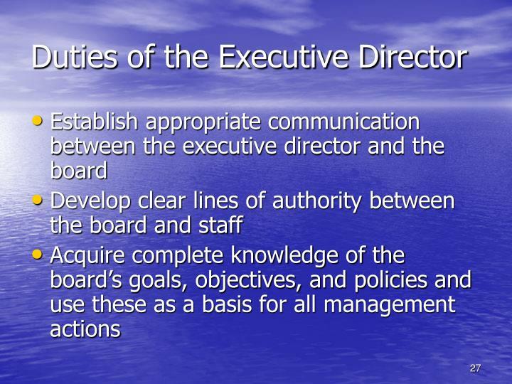 Duties of the Executive Director