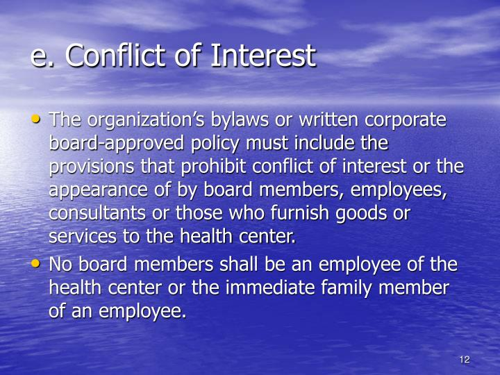 e. Conflict of Interest