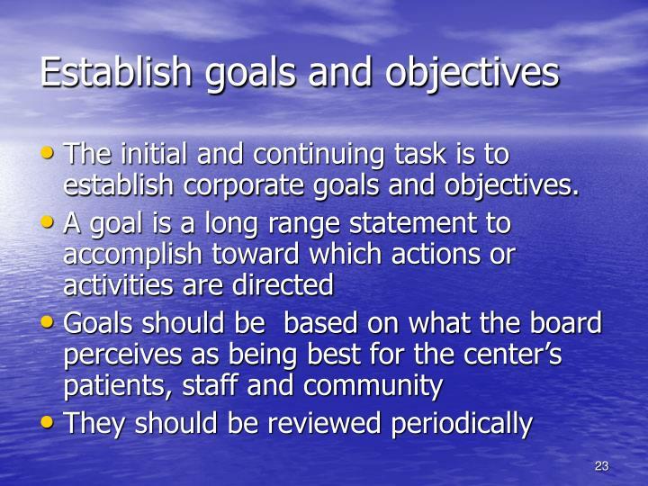 Establish goals and objectives