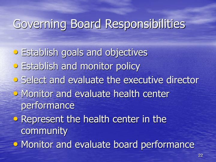 Governing Board Responsibilities