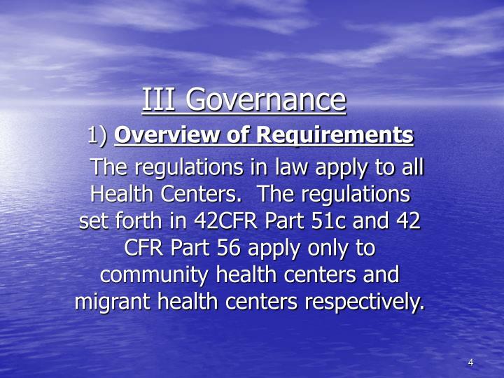 III Governance