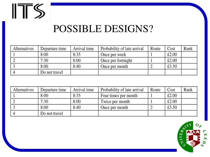 POSSIBLE DESIGNS?