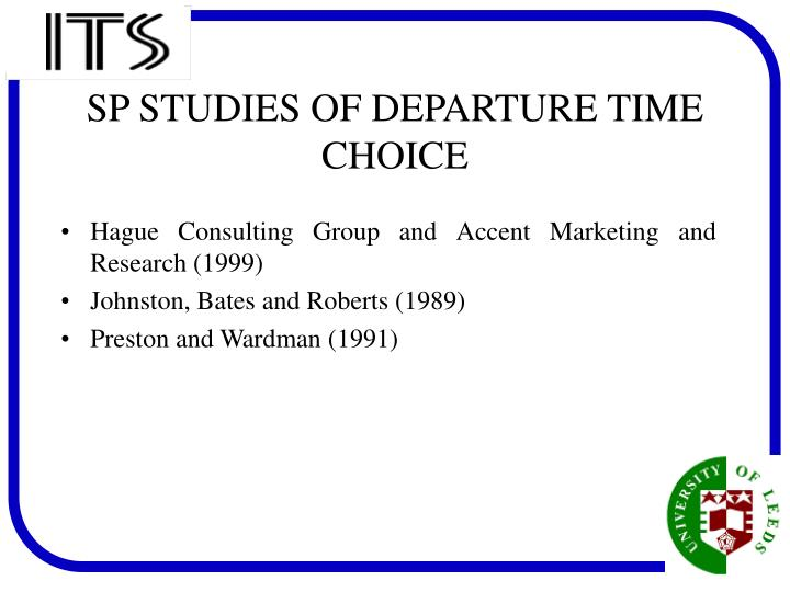 Sp studies of departure time choice